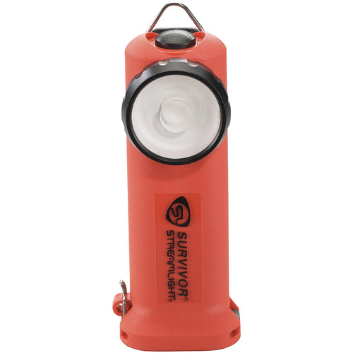 Streamlight Survivor Right-Angle Rechargeable LED Flashlight with Fast-Charge 12 VDC Car Charger (Orange)