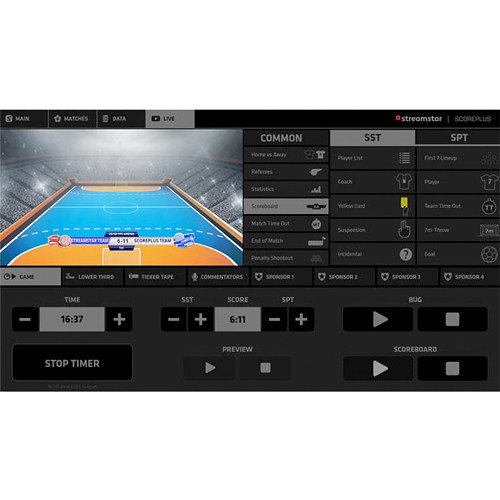 Streamstar Streamstar SCOREPLUS Handball Professional Sports Graphics GUI License Module