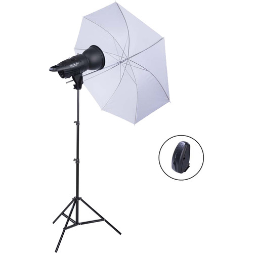 Studio Essentials 200Ws Value Flash Head 1-Light Kit with Umbrella and Wireless Remote