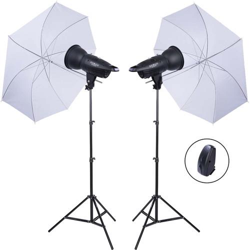 Studio Essentials 200Ws Value Flash Head 2-Light Kit with Umbrellas and Wireless Remote
