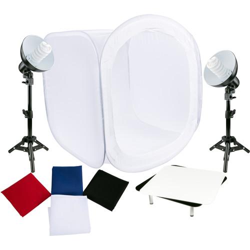 Studio Essentials Tabletop Fluorescent 2-Light Product Photography Kit