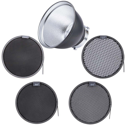 "Studio Essentials Standard 7"" Reflector and 4-Honeycomb Grid Bundle"