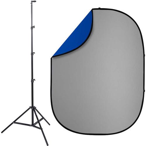Studio Essentials Pop-Up ReversibleBackground Kit (5 x 6.5', Blue/Gray)