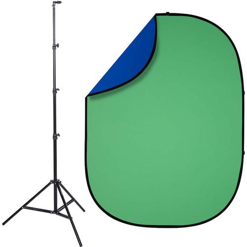 Studio Essentials Pop-Up Reversible Background Kit (5 x 6.5', Chroma Green/Blue)