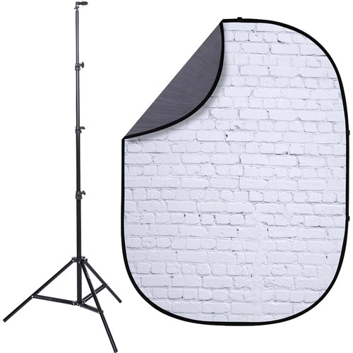 Studio Essentials Pop-Up ReversibleBackground Kit (5 x 6.5', White Bricks/Gray)
