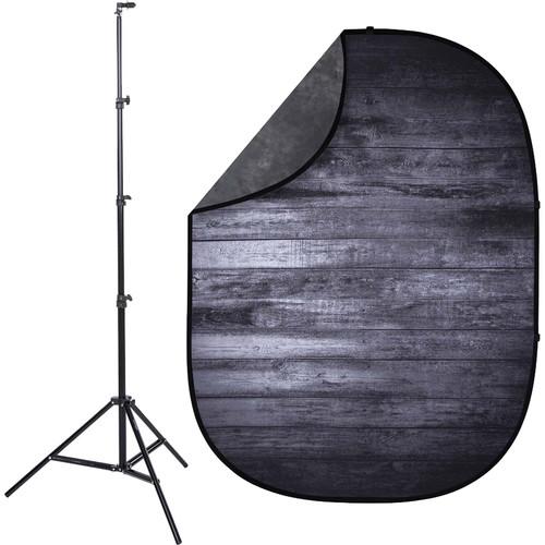 Studio Essentials Pop-Up ReversibleBackground Kit (5 x 6.5', Dark Planks/Brown-Gray)