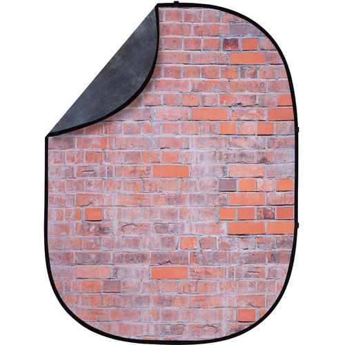 Studio Essentials Pop-Up ReversibleBackground (5 x 6.5', Worn Bricks/Gray)