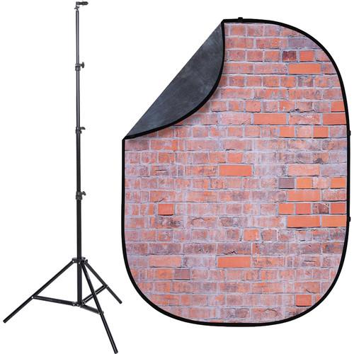 Studio Essentials Pop-Up ReversibleBackground Kit (5 x 6.5', Worn Bricks/Gray)