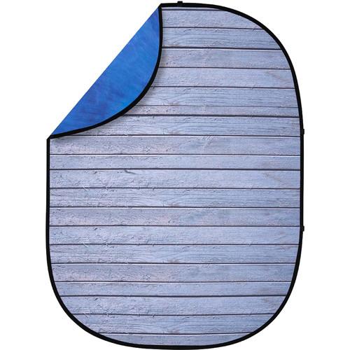Studio Essentials Pop-Up Reversible Background (5 x 6.5', Gray Pine/Blue)