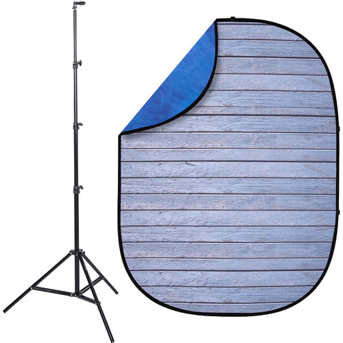Studio Essentials Pop-Up Reversible Background Kit (5 x 6.5', Gray Pine/Blue)
