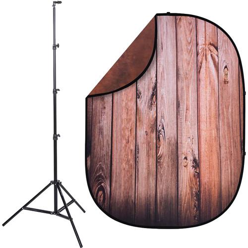 Studio Essentials Pop-Up ReversibleBackground Kit (5 x 6.5', Rosewood Planks/Red)