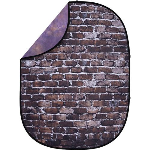 Studio Essentials Pop-Up ReversibleBackground (5 x 6.5', Back Alley Brick/Purple)