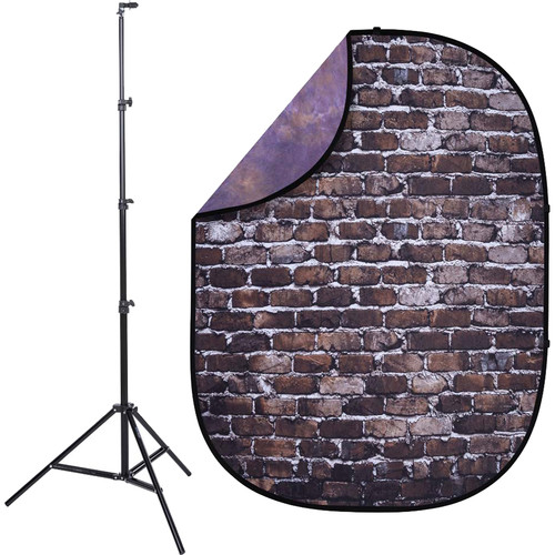 Studio Essentials Pop-Up Reversible Background Kit (5 x 6.5', Back Alley Brick/Purple)