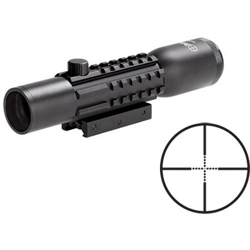 Sun Optics 2-6x28 Tri-Rail Tactical Riflescope (Mil-Dot Reticle, Matte Black)