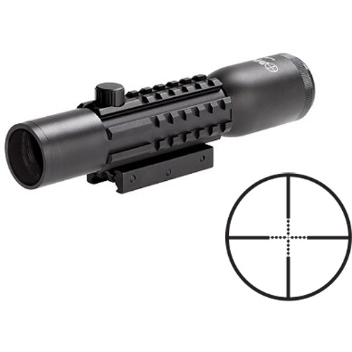 Sun Optics 2-6x28 Tri-Rail Tactical Riflescope (Mil-Dot Reticle, Matte Black)