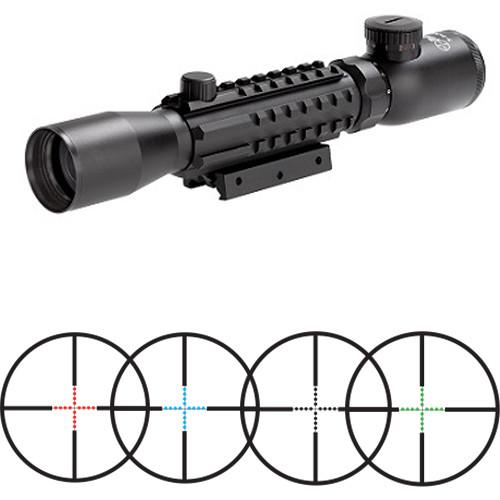 Sun Optics 3-9x32 Tri-Rail Tactical Riflescope (Red, Green, Blue Mil-Dot Illuminated Reticle, Matte Black)