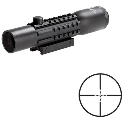 Sun Optics 4x28 Tri-Rail Tactical Riflescope (Mil-Dot Reticle, Matte Black)