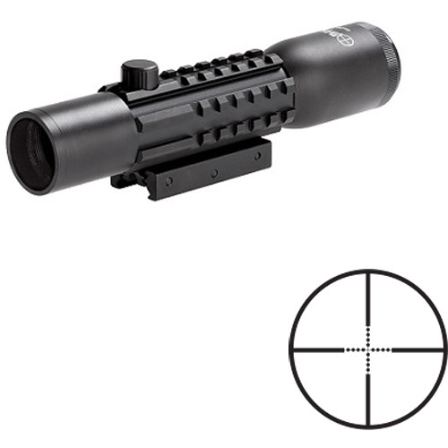 Sun optics 4x28 Tri-Rail Tactical Riflescope (Mil-Dot Reticle, Matte Black)
