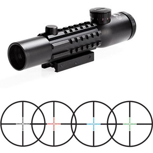 Sun Optics 4x28 Tri-Rail Tactical Riflescope (Red-Green-Blue Mil-Dot Illuminated Reticle, Matte Black)