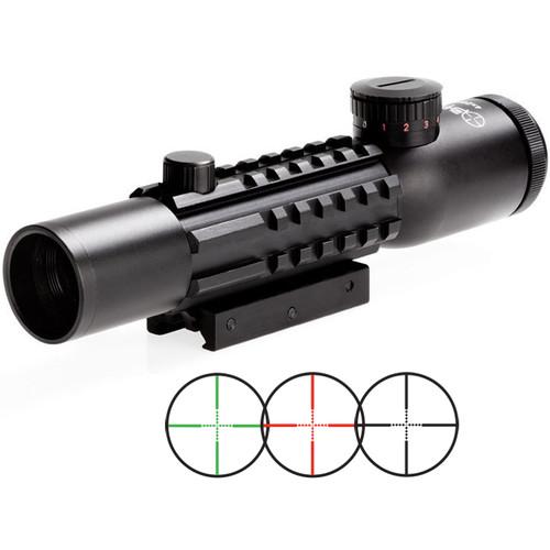Sun Optics 3-9x32 Tri-Rail Tactical Riflescope (Red, Green Mil-Dot Illuminated Reticle, Matte Black)