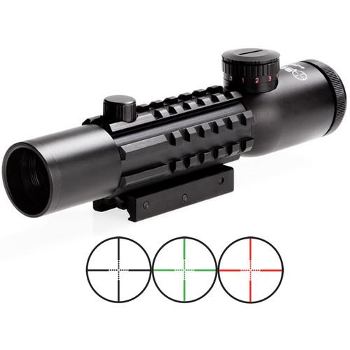 Sun Optics 4x28 Tri-Rail Tactical Riflescope (Red-Green Mil-Dot Illuminated Reticle, Matte Black)