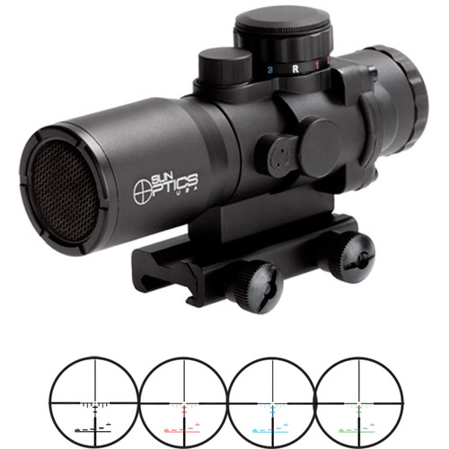 Sun optics 4x32 Tactical Precision Prismatic Riflescope (Mil-Type Illuminated Reticle, Matte Black)