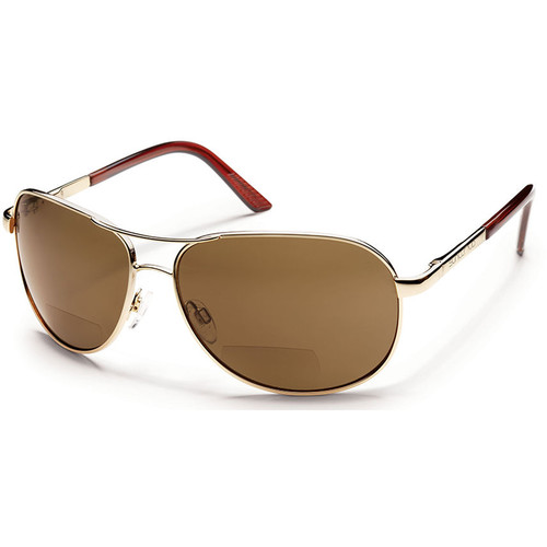 SUNCLOUD OPTICS Aviator Sunglasses with Readers (Gold Frames, Brown Polarized Lenses)