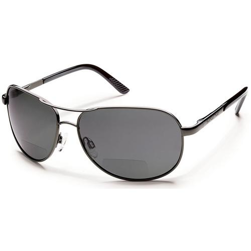 SUNCLOUD OPTICS Aviator Sunglasses with Readers (Gunmetal Frames, Gray Polarized Lenses)