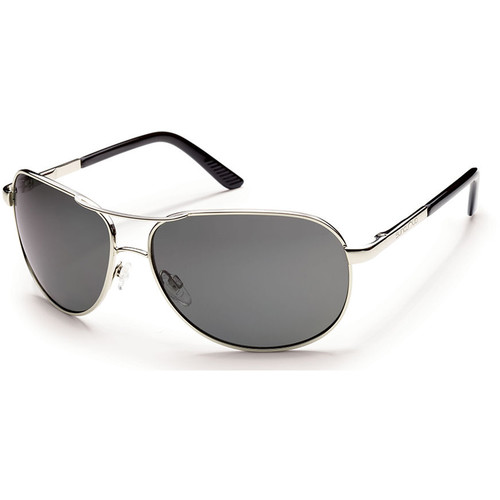 SUNCLOUD OPTICS Aviator Sunglasses (Silver Frames with Polarized Gray Lenses)