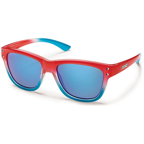 SUNCLOUD OPTICS Carob Sunglasses (Small Fit) (Red Fade Frames, Blue Mirror Polarized Lenses)