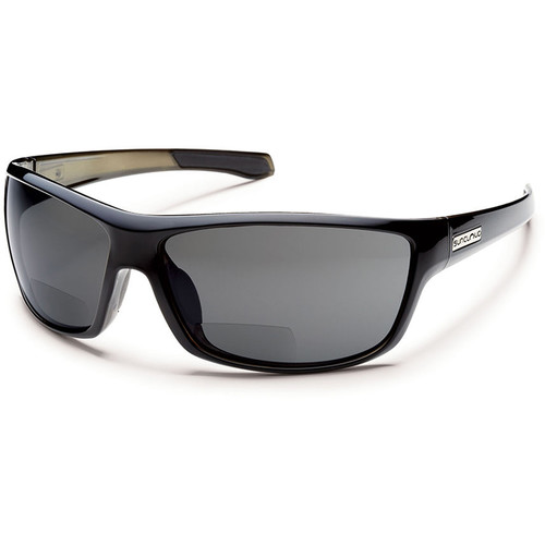 SUNCLOUD OPTICS Conductor Reader Sunglasses 2.5x (Black Frames, Gray Polarized Lenses)