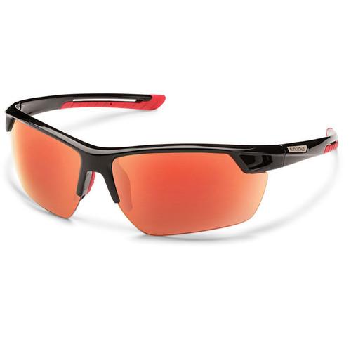 SUNCLOUD OPTICS Contender Sunglasses (Black Frames, Red Mirror Polarized Lenses)