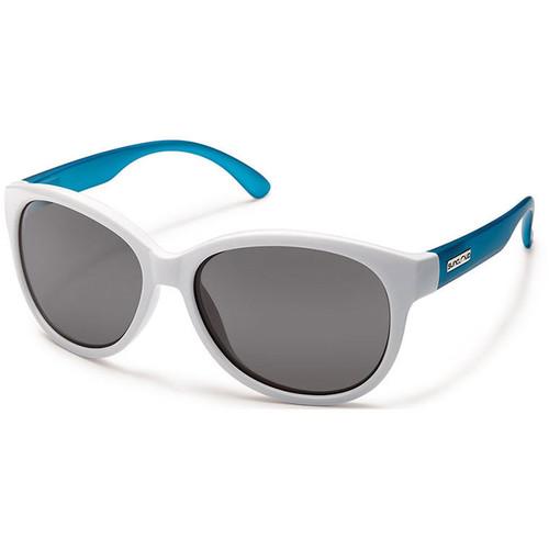 SUNCLOUD OPTICS Catnip Sunglasses (White Aqua Frames, Gray Polarized Lenses)