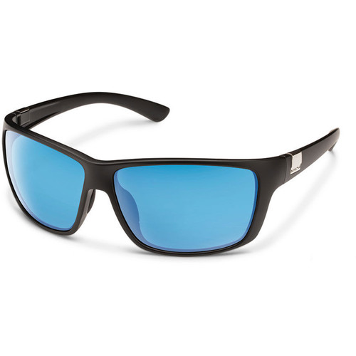SUNCLOUD OPTICS Councilman Sunglasses (Matte Black Frames, Blue Mirror Polarized Lenses)