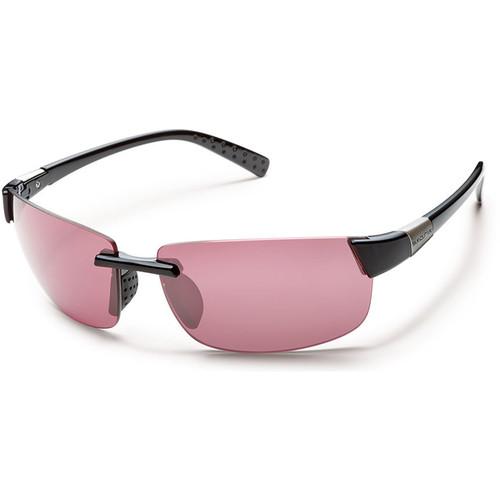 SUNCLOUD OPTICS Getaway Sunglasses (Black Frames, Pink Polarized Lenses)