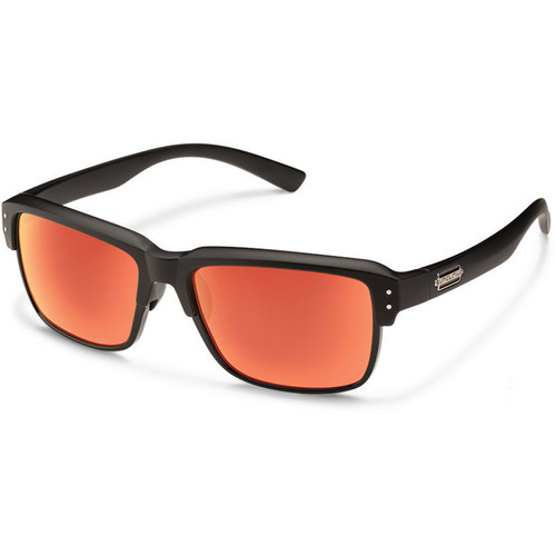SUNCLOUD OPTICS Port_O_Call Sunglasses (Matte Black Frames, Red Mirror Polarized Lenses)