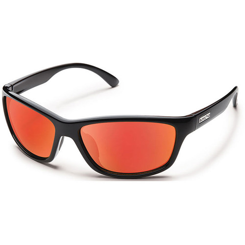 SUNCLOUD OPTICS Rowan Sunglasses (Black Frames, Red Mirror Polarized Lenses)