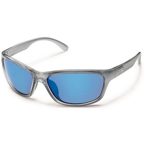 SUNCLOUD OPTICS Rowan Sunglasses (Silver Backpaint Frames, Blue Mirror Polarized Lenses)