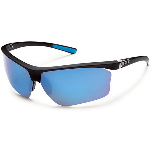 SUNCLOUD OPTICS Roadmap Sunglasses (Matte Black Frames, Blue Mirror Polarized Lenses)
