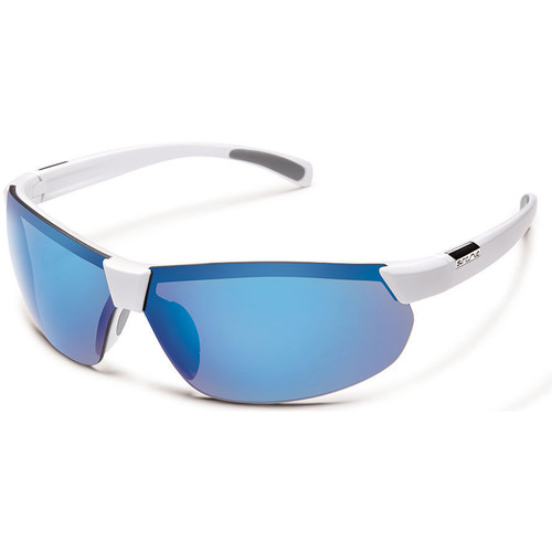 SUNCLOUD OPTICS Switchback Sunglasses (White Frames, Blue Mirror Polarized Lenses)
