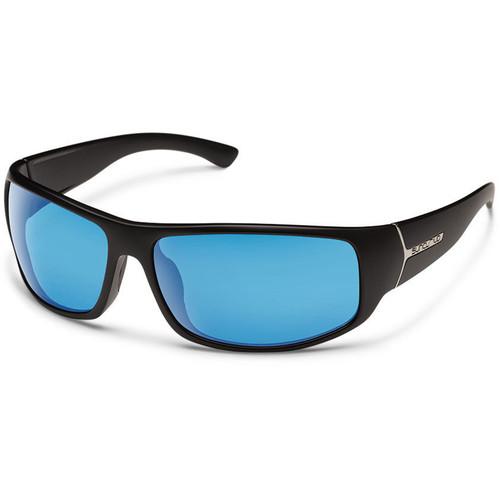 SUNCLOUD OPTICS Turbine Sunglasses (Black Frames, Blue Mirror Polarized Lenses)