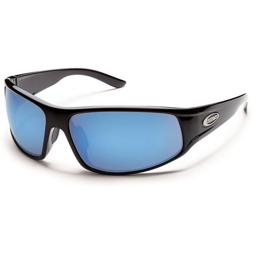 SUNCLOUD OPTICS Warrant Sunglasses (Black Frames, Blue Mirror Polarized Lenses)