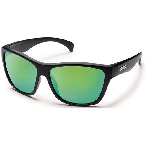 SUNCLOUD OPTICS Wasabi Sunglasses (Matte Black Frames, Green Mirror Polarized Lenses)