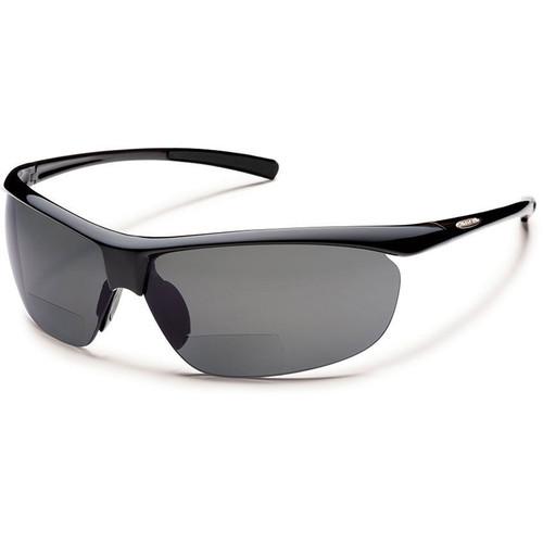 SUNCLOUD OPTICS Zephyr Reader Sunglasses 2.0x (Black Frames, Gray Polarized Lenses)