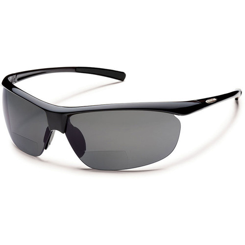 SUNCLOUD OPTICS Zephyr Reader Sunglasses 2.5x (Black Frames, Gray Polarized Lenses)
