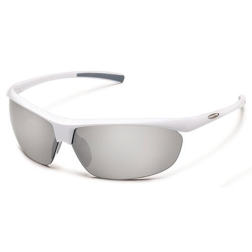 SUNCLOUD OPTICS Zephyr Sunglasses (White Frames, Silver Mirror Polarized Lenses)