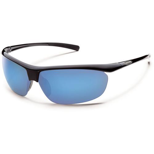SUNCLOUD OPTICS Zephyr Sunglasses (Black Frames, Blue Mirror Polarized Lenses)