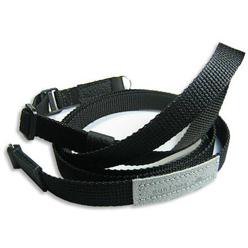 Sunlows Adjustable Length Poly Camera Strap with Ring (Black Ends)