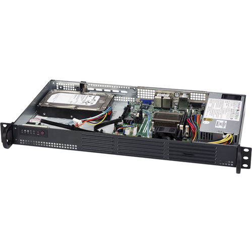 "Supermicro SuperServer Intel Atom C2358 Processor with Four 2.5"" HDD Drive Bays (1 RU, Black)"