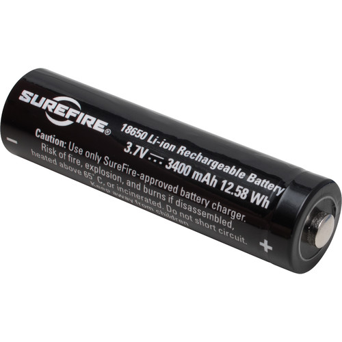 SureFire 18650 Rechargeable Lithium-Ion Battery (3.7V, 3400mAh)